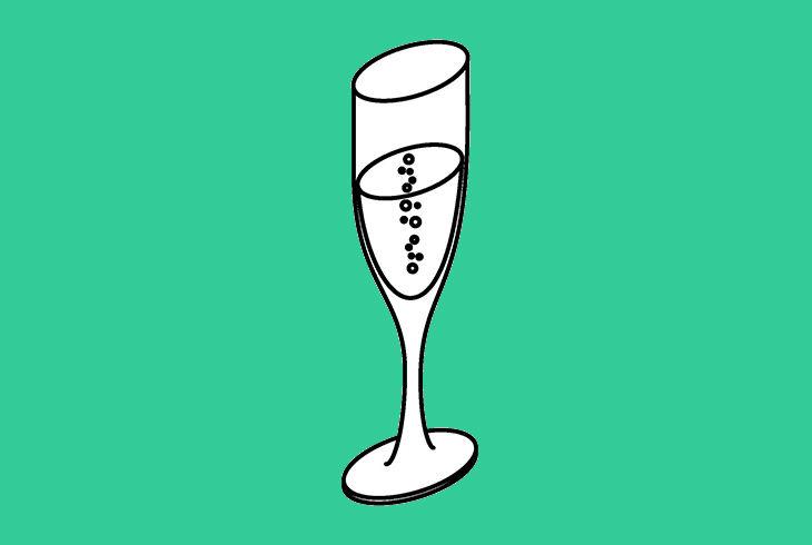 coupe de champagne sur fond vert