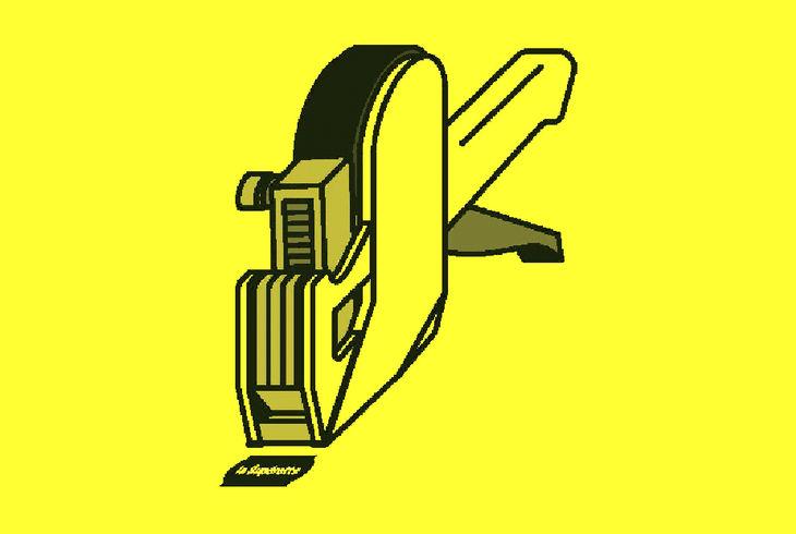 étiqueteuse sur fond jaune