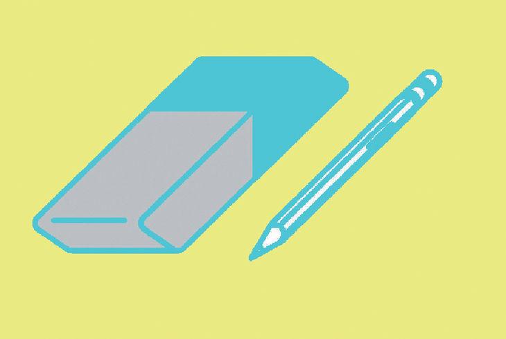 gomme et crayon sur fondjaune