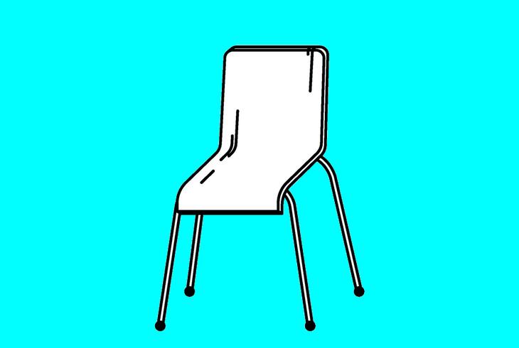 chaise sur fond bleu