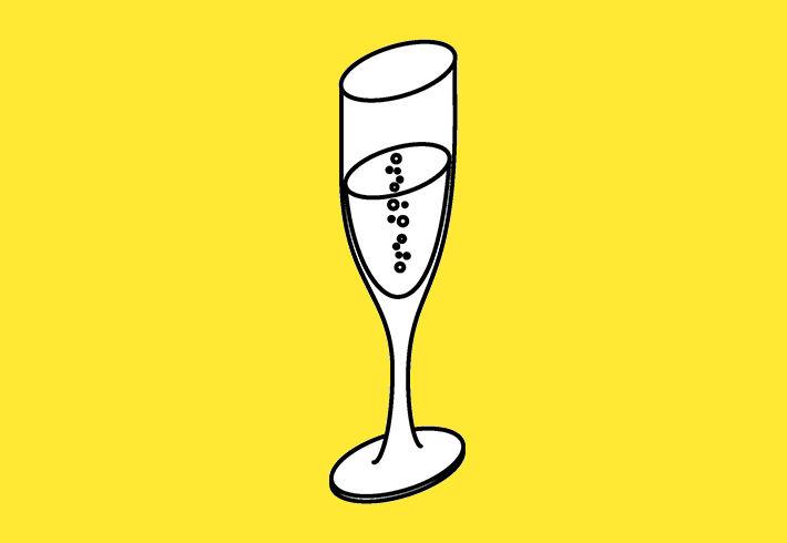 coupe de champagne sur fond jaune