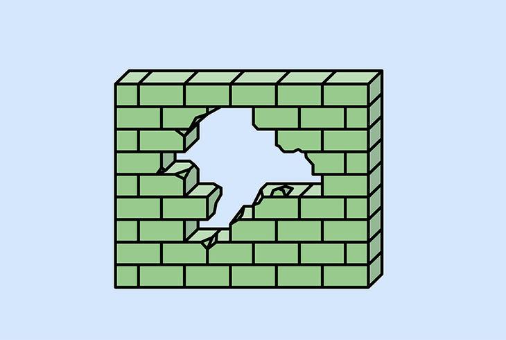 mur de briques vert sur fond bleu