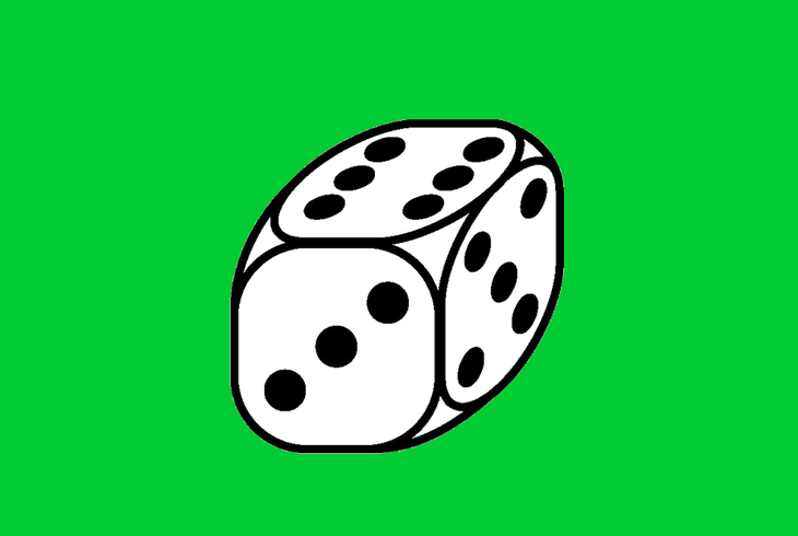 dé sur fond vert