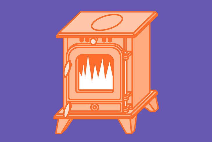 poêle orange sur fond violet