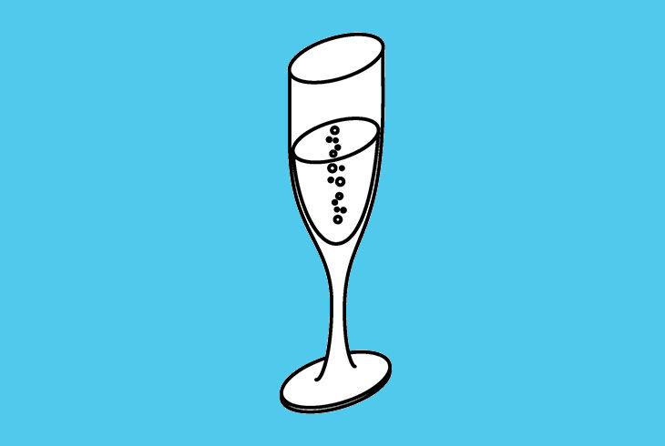 coupe de champagne sur fond bleu